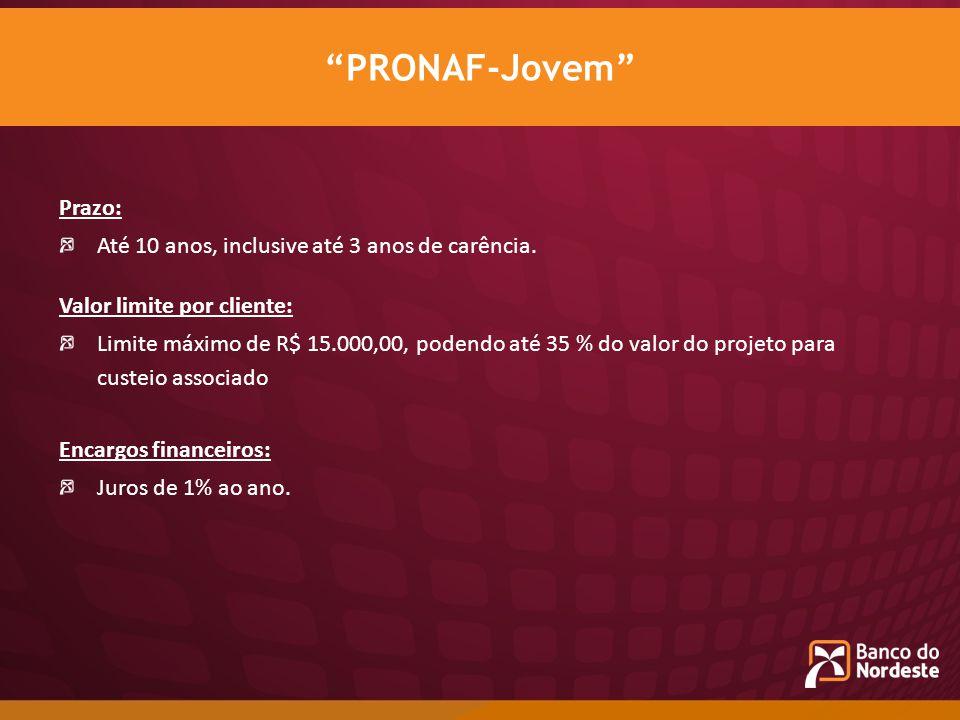 PRONAF-Jovem Prazo: Até 10 anos, inclusive até 3 anos de carência.
