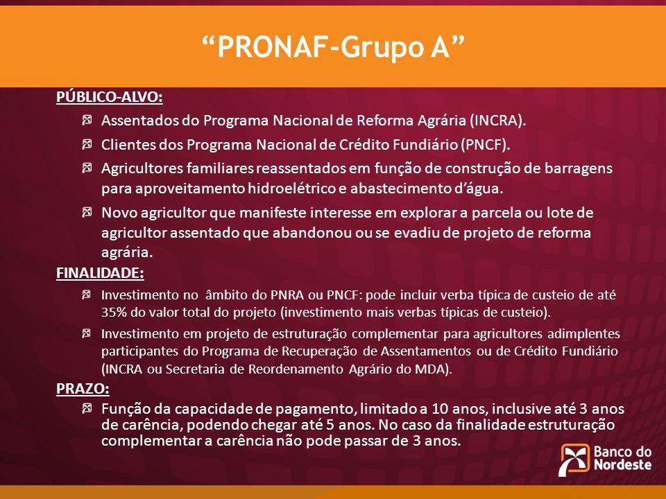 PRONAF-Grupo A PÚBLICO-ALVO: