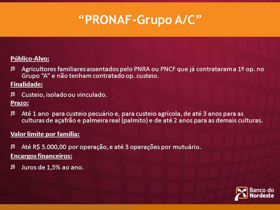 PRONAF-Grupo A/C Público-Alvo:
