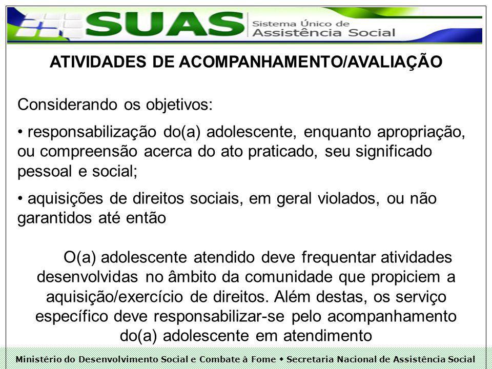 ATIVIDADES DE ACOMPANHAMENTO/AVALIAÇÃO