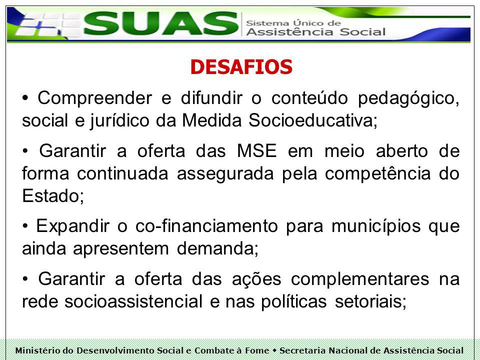 DESAFIOS • Compreender e difundir o conteúdo pedagógico, social e jurídico da Medida Socioeducativa;
