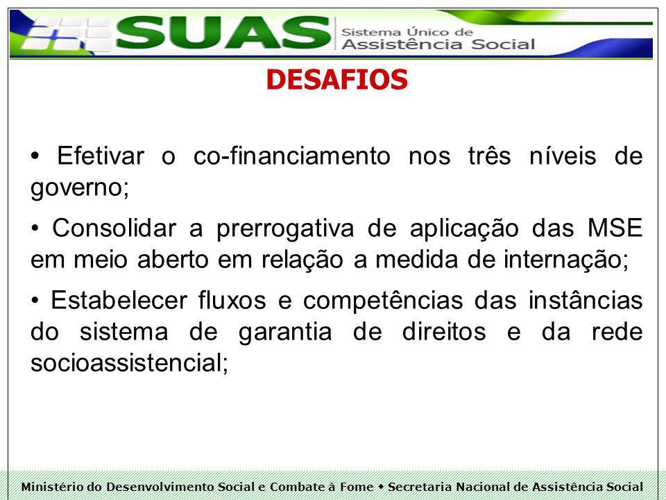 DESAFIOS • Efetivar o co-financiamento nos três níveis de governo;