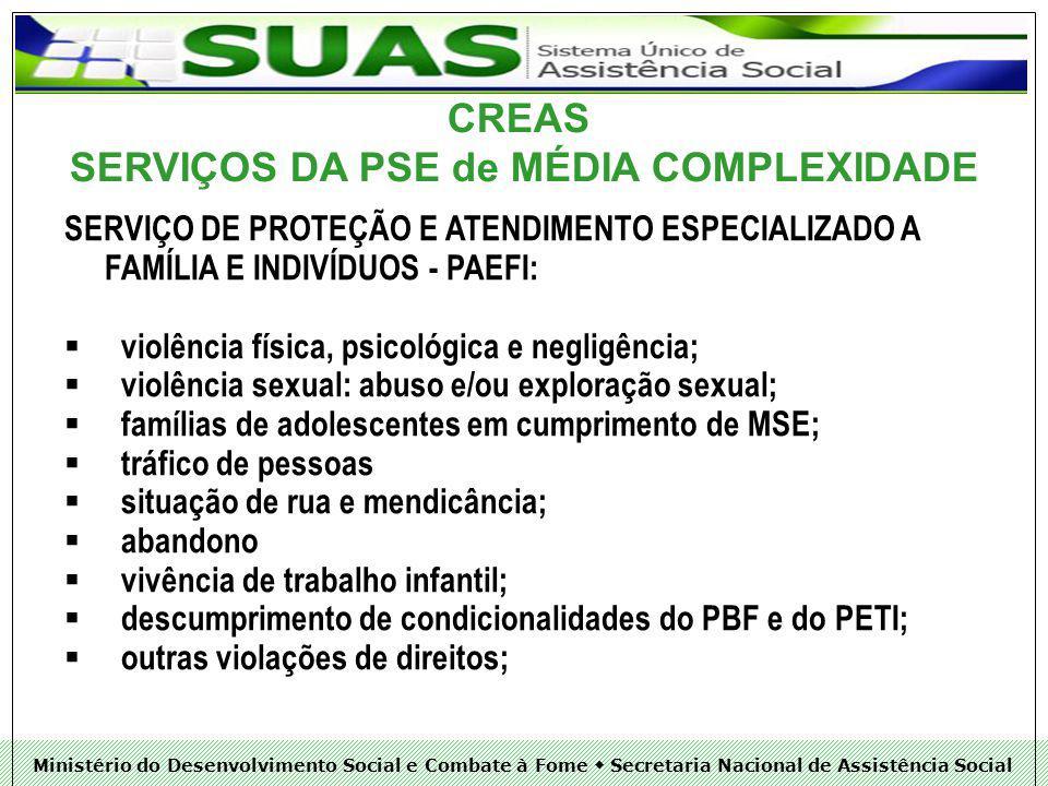 SERVIÇOS DA PSE de MÉDIA COMPLEXIDADE