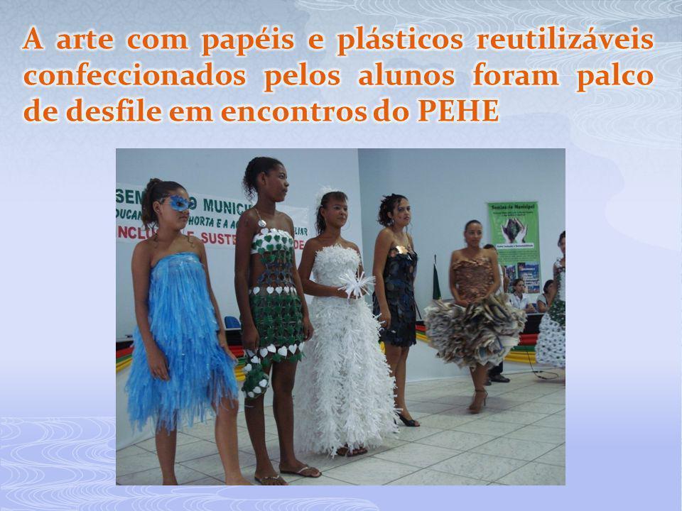 A arte com papéis e plásticos reutilizáveis confeccionados pelos alunos foram palco de desfile em encontros do PEHE
