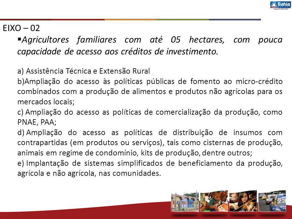 EIXO – 02 Agricultores familiares com até 05 hectares, com pouca capacidade de acesso aos créditos de investimento.