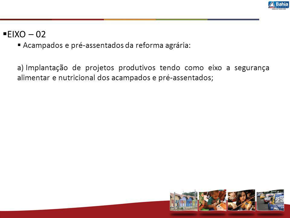 EIXO – 02 Acampados e pré-assentados da reforma agrária: