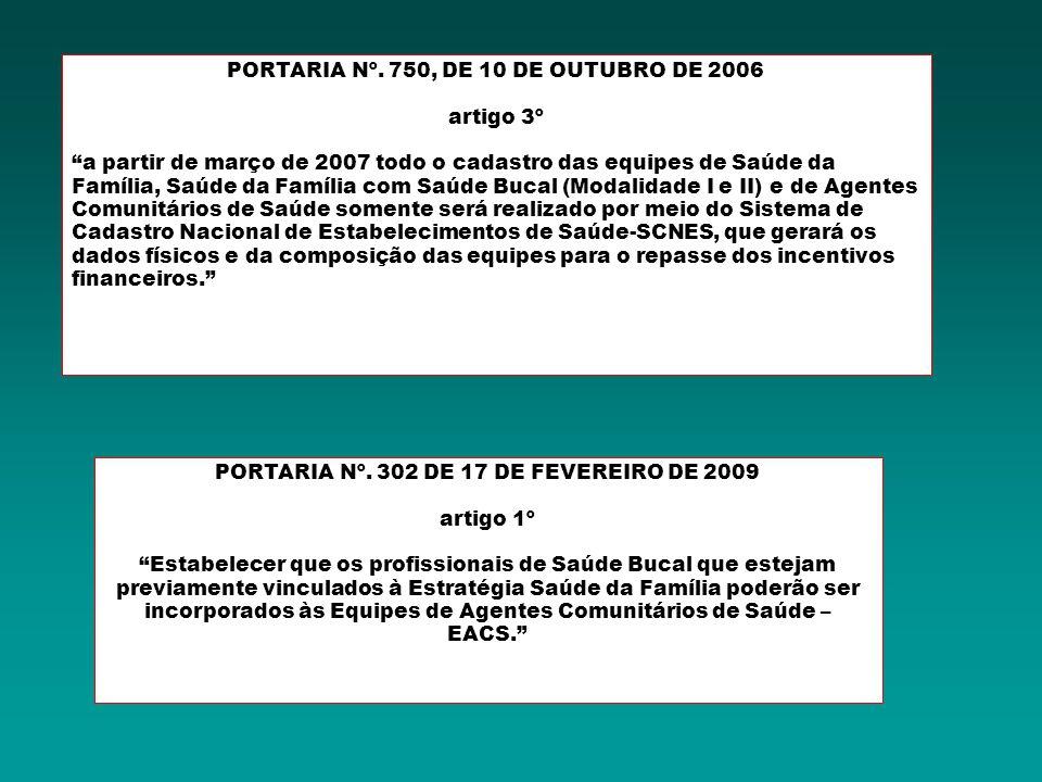 PORTARIA Nº. 750, DE 10 DE OUTUBRO DE 2006 artigo 3º