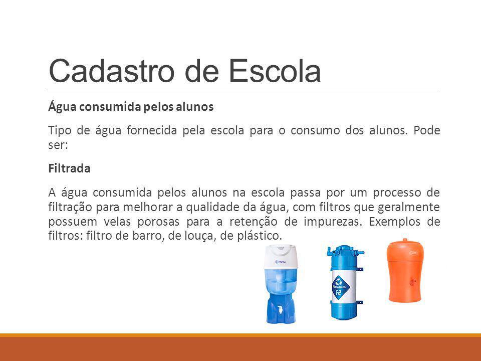 Cadastro de Escola Água consumida pelos alunos