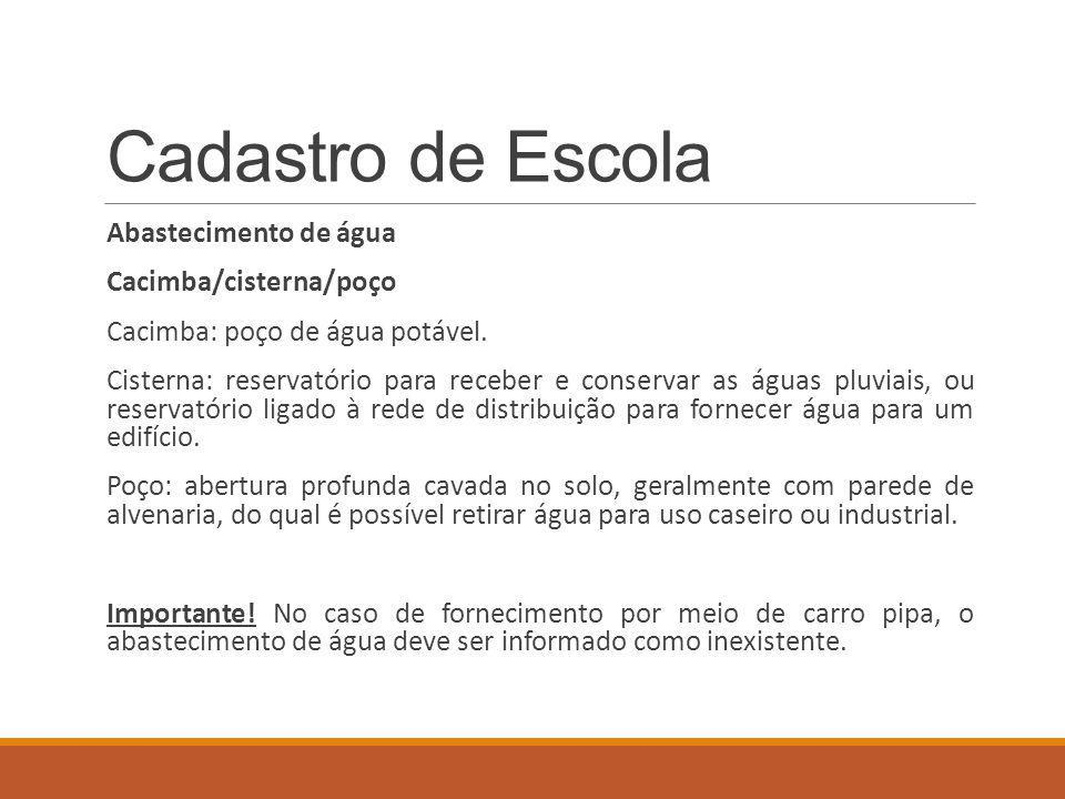 Cadastro de Escola Abastecimento de água Cacimba/cisterna/poço