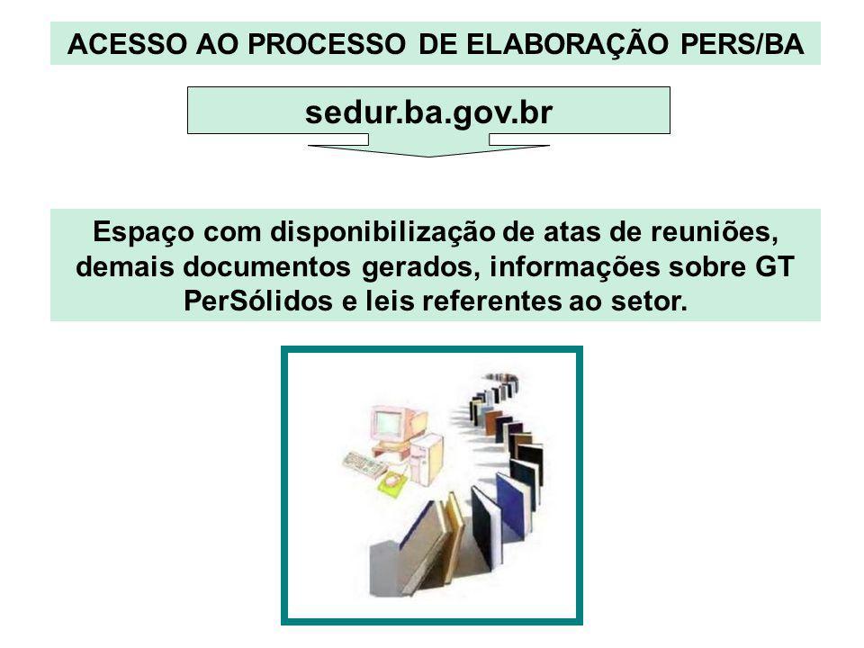 ACESSO AO PROCESSO DE ELABORAÇÃO PERS/BA