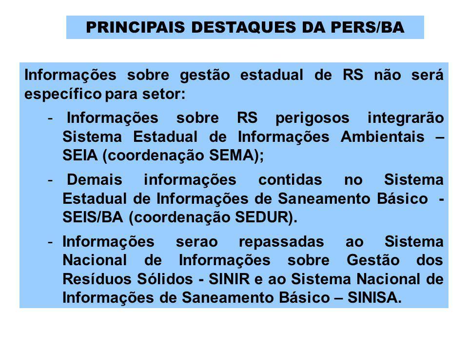 PRINCIPAIS DESTAQUES DA PERS/BA