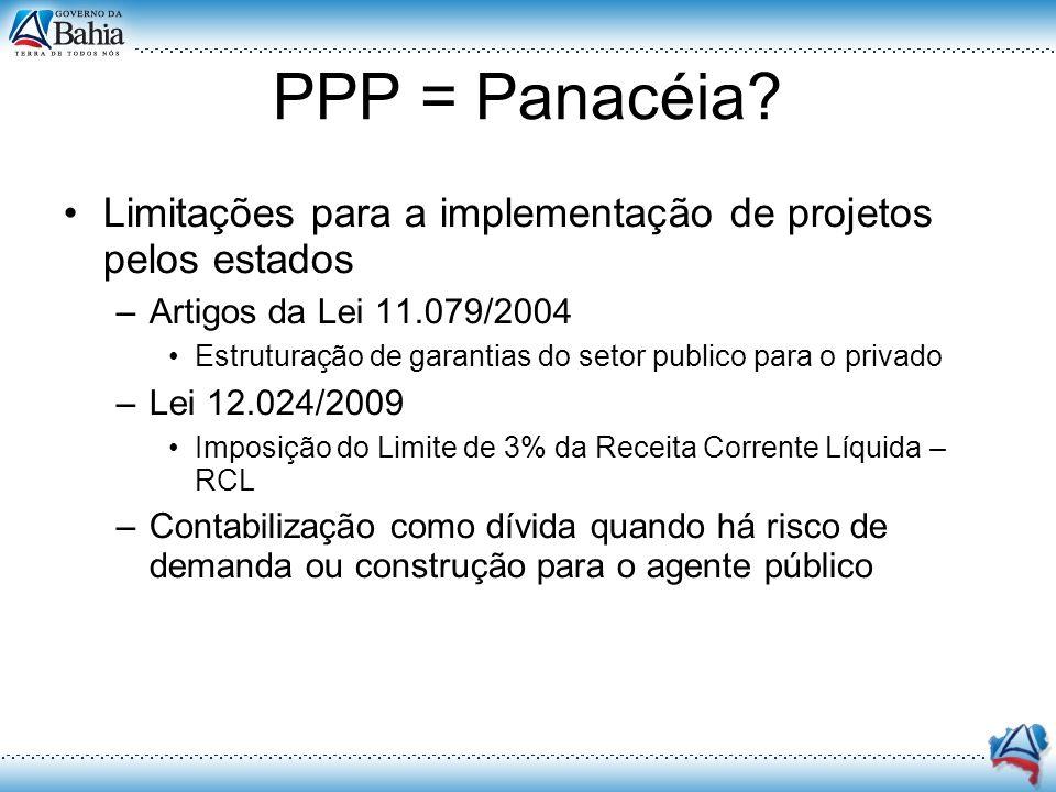 PPP = Panacéia Limitações para a implementação de projetos pelos estados. Artigos da Lei 11.079/2004.