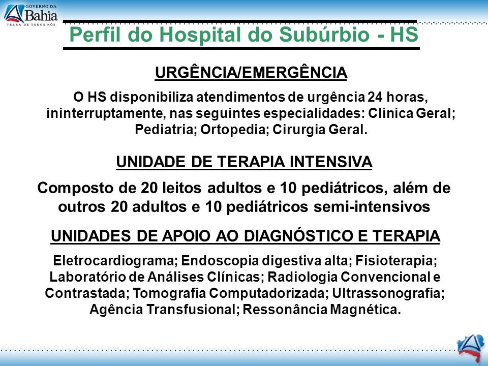 Perfil do Hospital do Subúrbio - HS