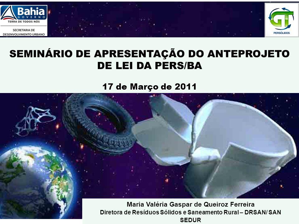 SEMINÁRIO DE APRESENTAÇÃO DO ANTEPROJETO DE LEI DA PERS/BA