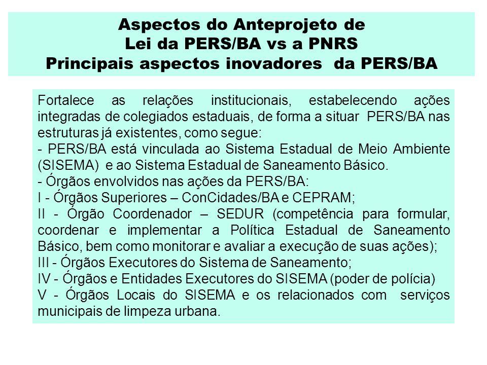 Aspectos do Anteprojeto de Lei da PERS/BA vs a PNRS