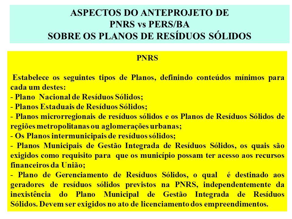 ASPECTOS DO ANTEPROJETO DE SOBRE OS PLANOS DE RESÍDUOS SÓLIDOS