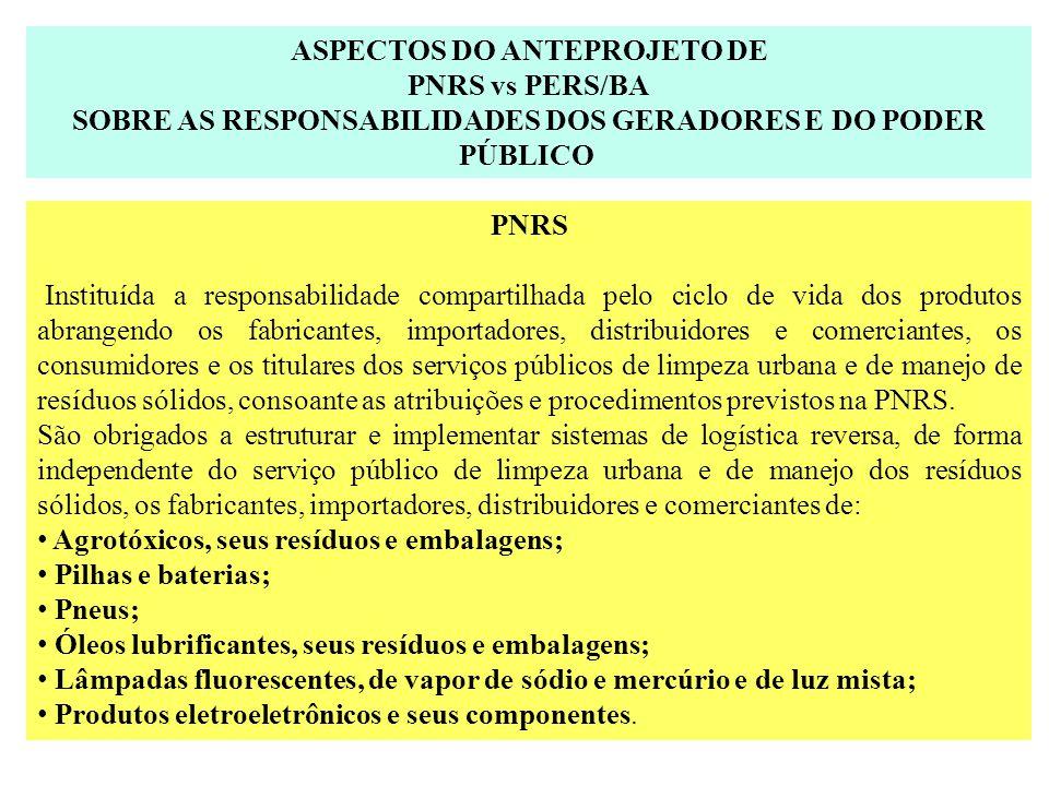 ASPECTOS DO ANTEPROJETO DE PNRS vs PERS/BA