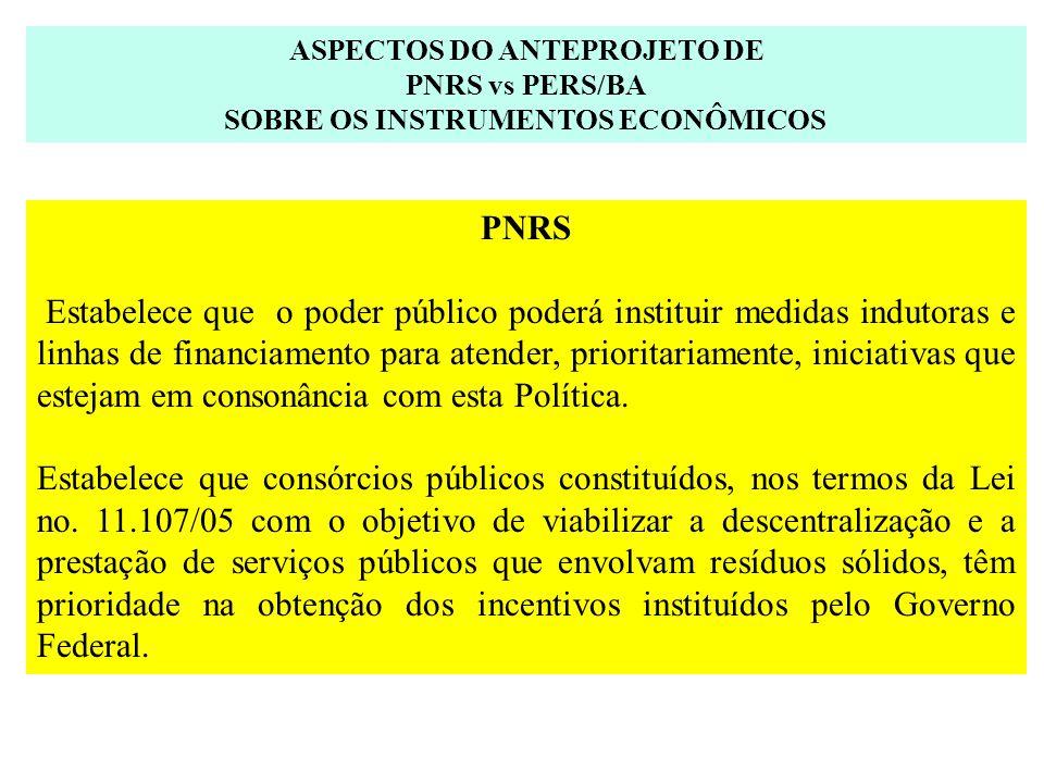 ASPECTOS DO ANTEPROJETO DE SOBRE OS INSTRUMENTOS ECONÔMICOS