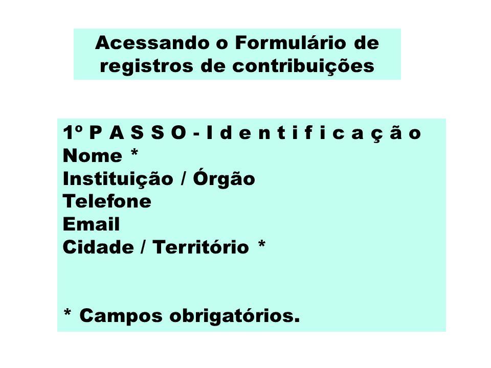 Acessando o Formulário de registros de contribuições