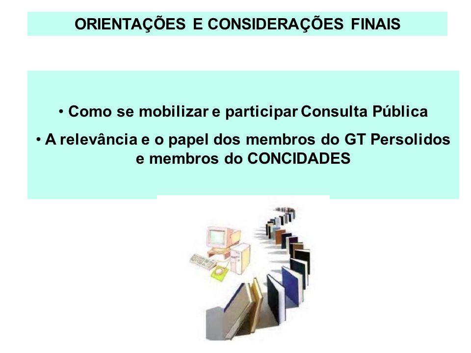 ORIENTAÇÕES E CONSIDERAÇÕES FINAIS