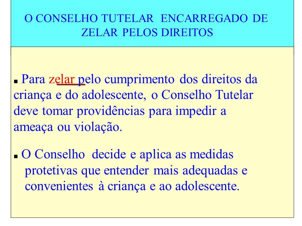 O CONSELHO TUTELAR ENCARREGADO DE ZELAR PELOS DIREITOS