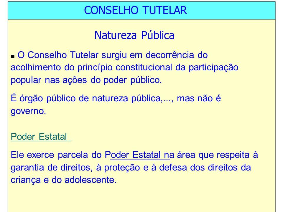 CONSELHO TUTELAR Natureza Pública