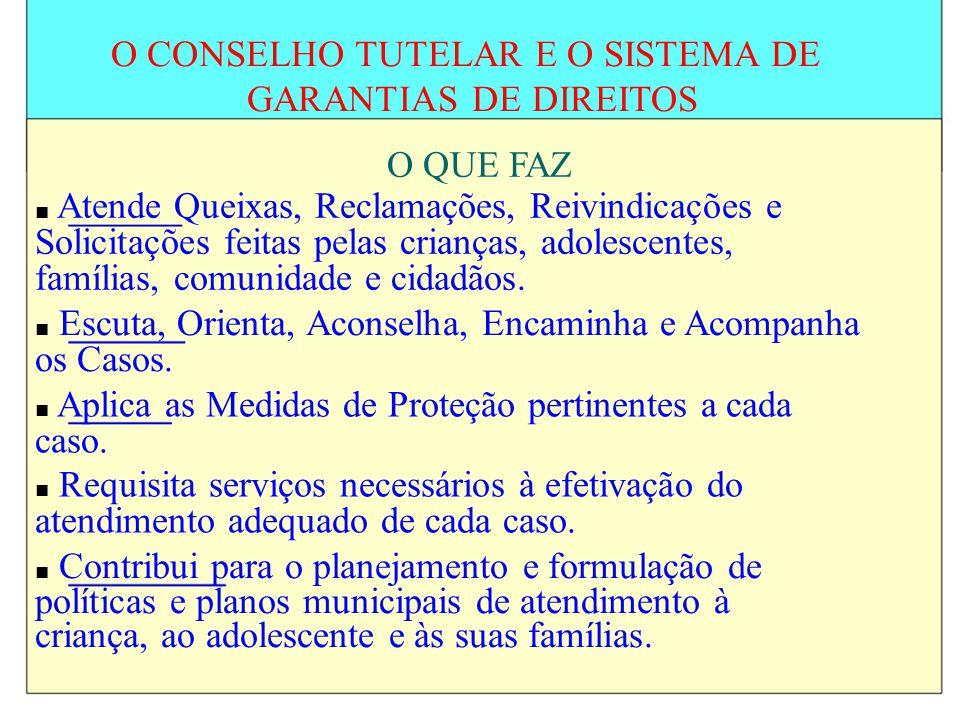 O CONSELHO TUTELAR E O SISTEMA DE GARANTIAS DE DIREITOS