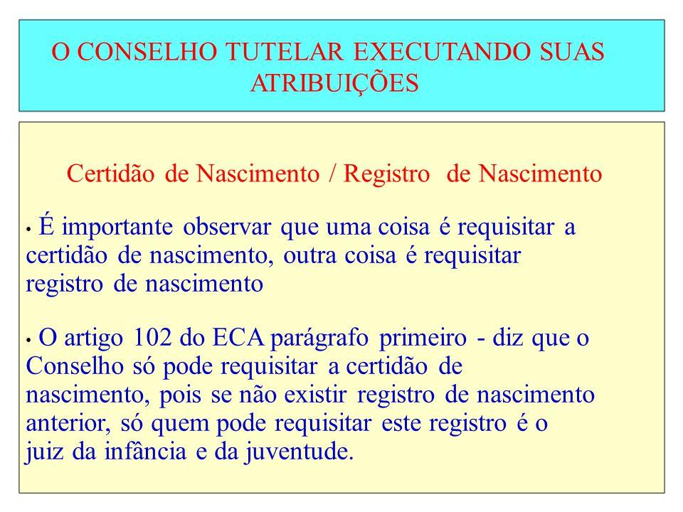 O CONSELHO TUTELAR EXECUTANDO SUAS ATRIBUIÇÕES