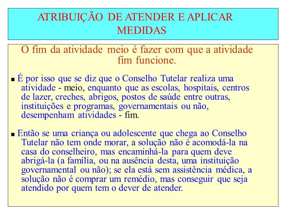 ATRIBUIÇÃO DE ATENDER E APLICAR MEDIDAS