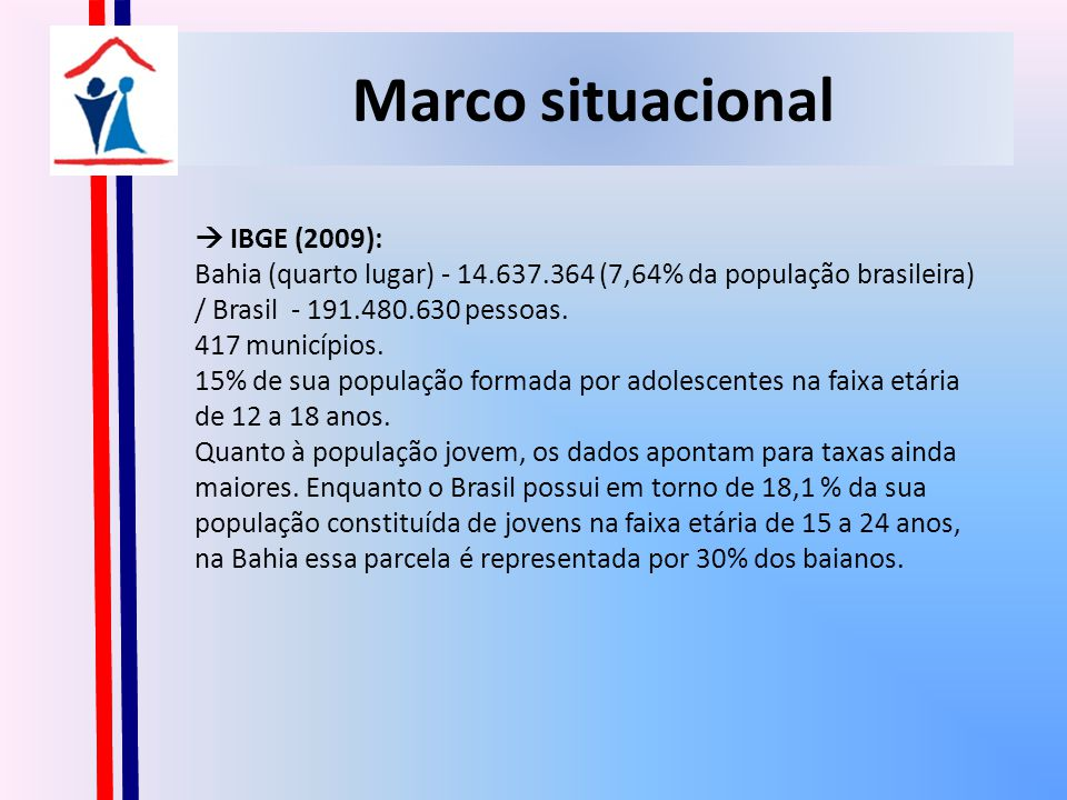 Marco situacional  IBGE (2009):