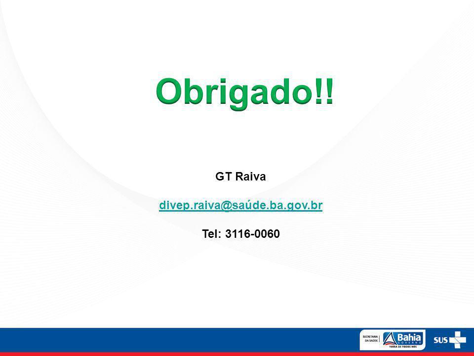 Obrigado!! GT Raiva divep.raiva@saúde.ba.gov.br Tel: 3116-0060