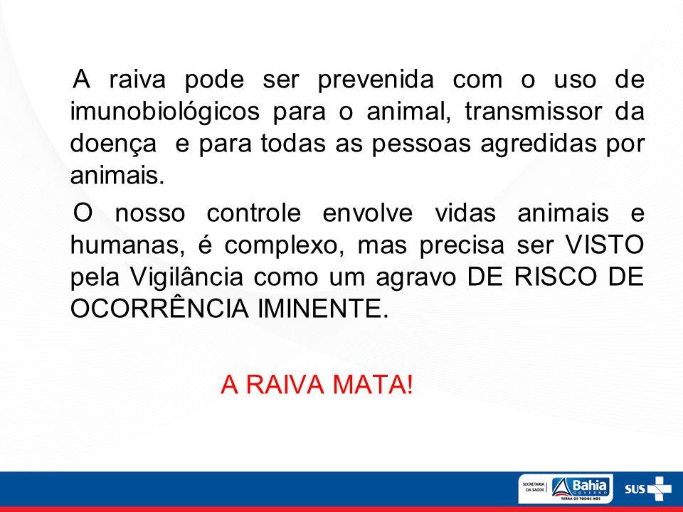A raiva pode ser prevenida com o uso de imunobiológicos para o animal, transmissor da doença e para todas as pessoas agredidas por animais.