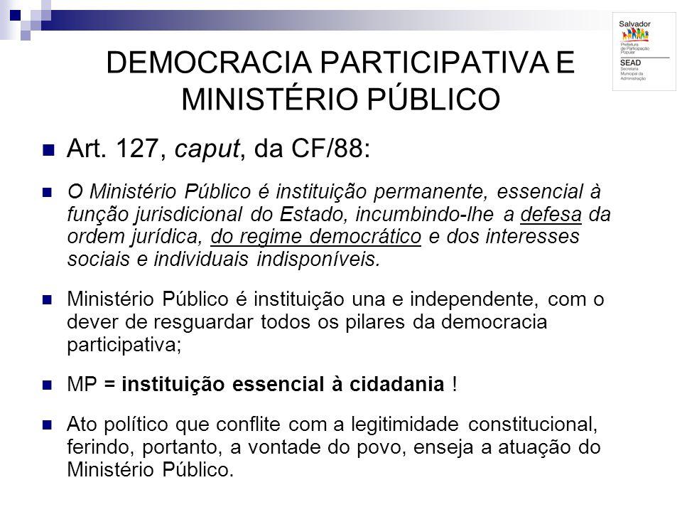DEMOCRACIA PARTICIPATIVA E MINISTÉRIO PÚBLICO