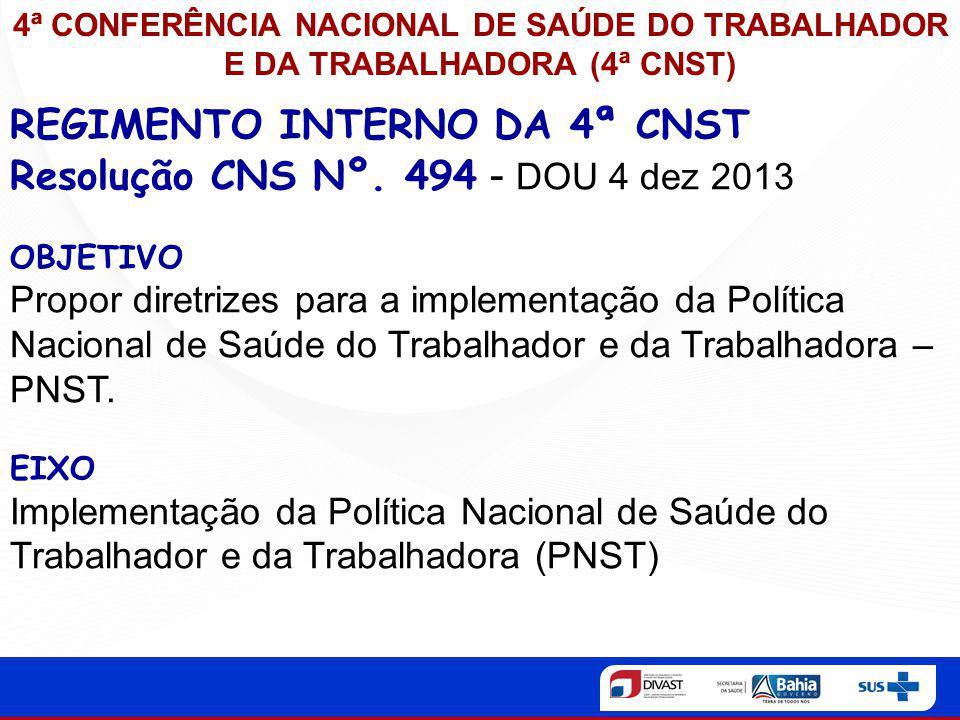 REGIMENTO INTERNO DA 4ª CNST Resolução CNS Nº. 494 - DOU 4 dez 2013