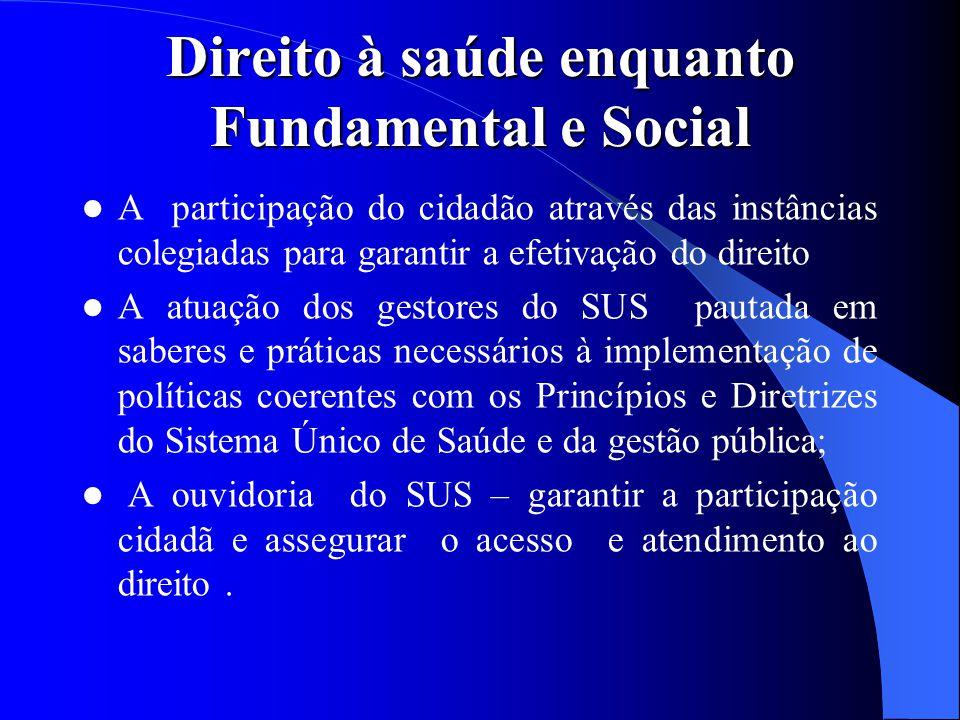 Direito à saúde enquanto Fundamental e Social