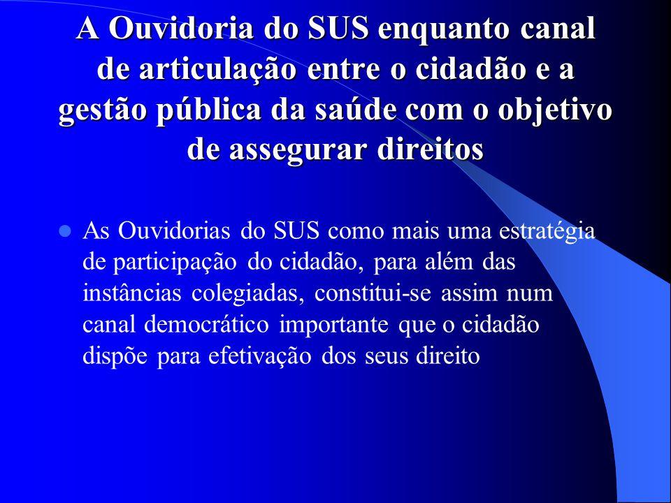 A Ouvidoria do SUS enquanto canal de articulação entre o cidadão e a gestão pública da saúde com o objetivo de assegurar direitos