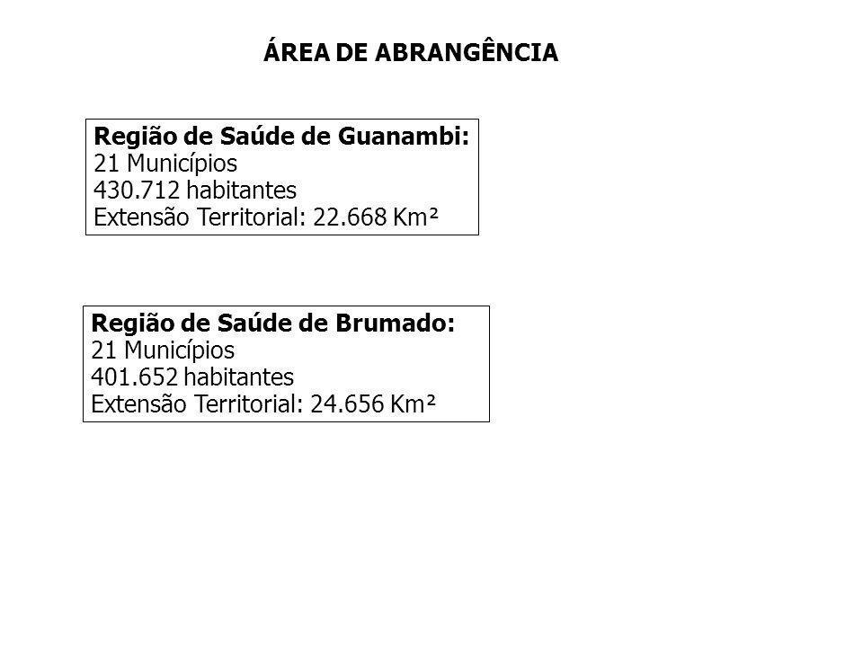 ÁREA DE ABRANGÊNCIA Região de Saúde de Guanambi: 21 Municípios. 430.712 habitantes. Extensão Territorial: 22.668 Km².