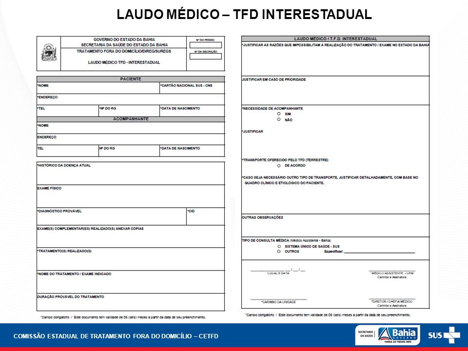 LAUDO MÉDICO – TFD INTERESTADUAL
