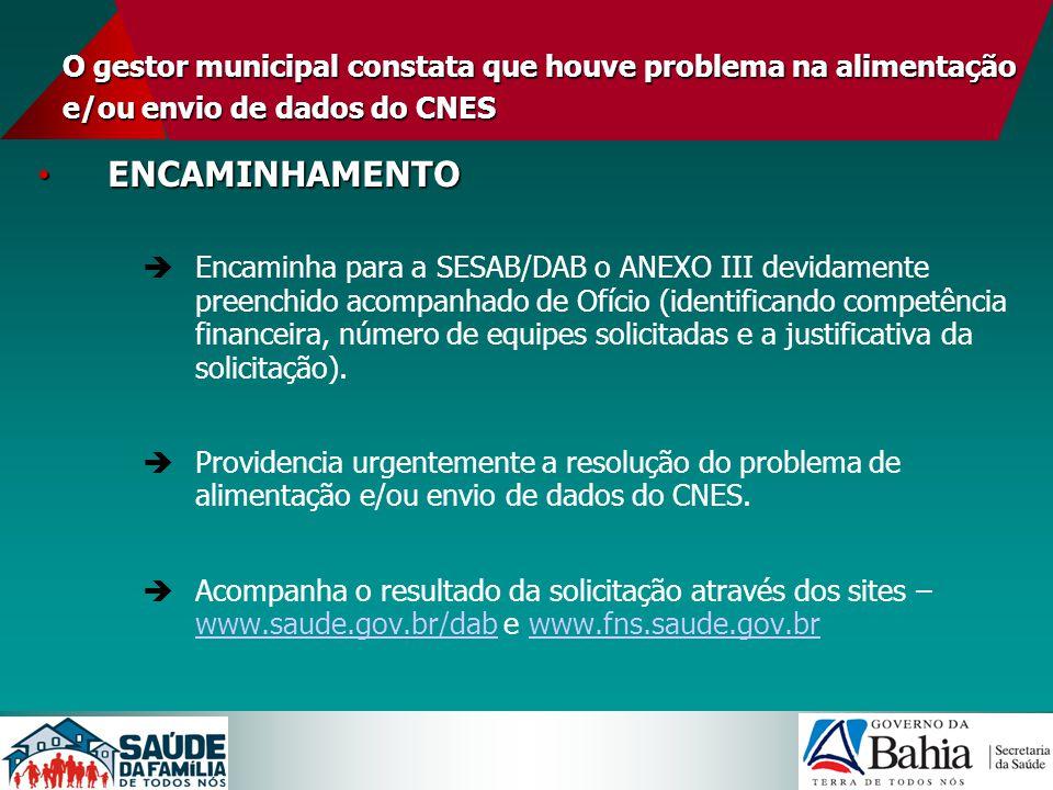 O gestor municipal constata que houve problema na alimentação e/ou envio de dados do CNES