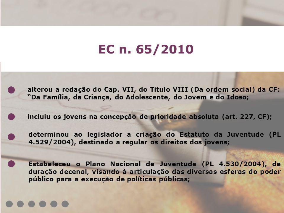 EC n. 65/2010 alterou a redação do Cap. VII, do Título VIII (Da ordem social) da CF: Da Família, da Criança, do Adolescente, do Jovem e do Idoso;