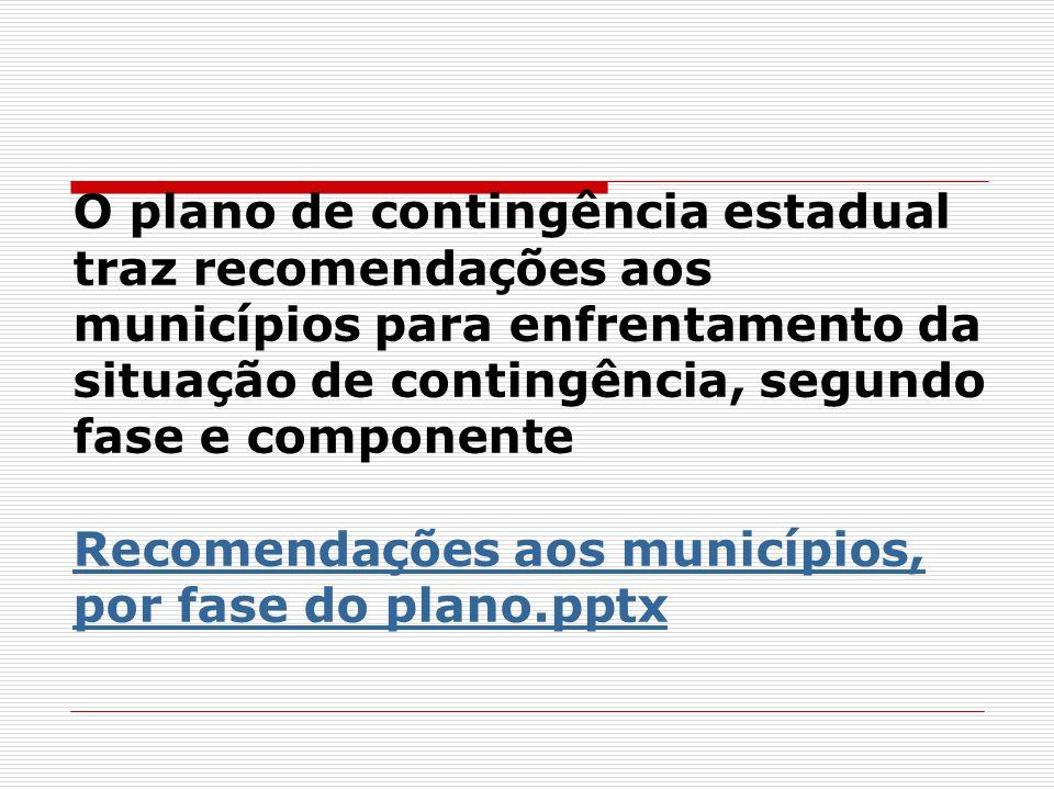 O plano de contingência estadual traz recomendações aos municípios para enfrentamento da situação de contingência, segundo fase e componente Recomendações aos municípios, por fase do plano.pptx