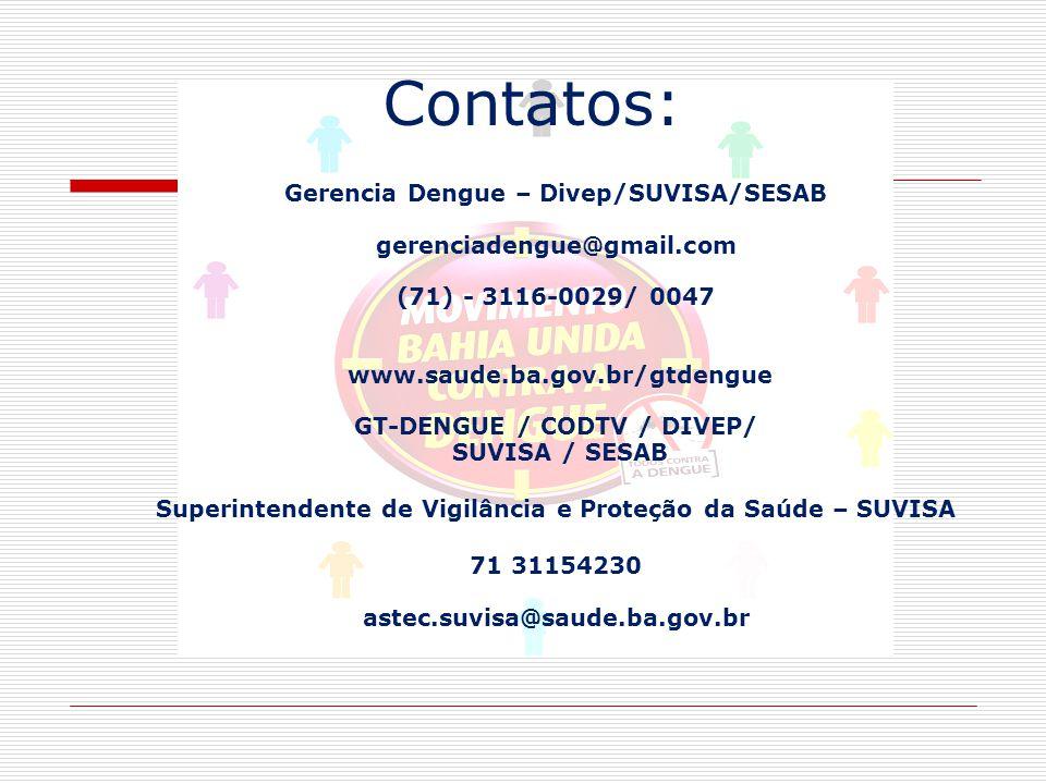Contatos: Gerencia Dengue – Divep/SUVISA/SESAB