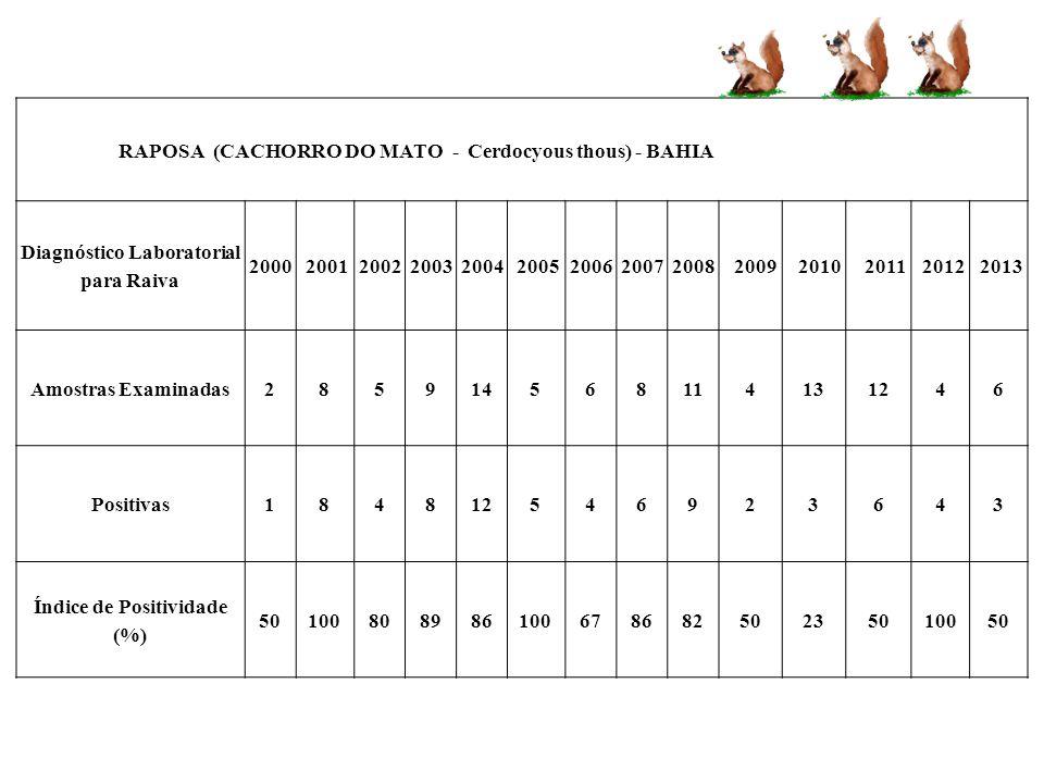 Diagnóstico Laboratorial para Raiva Índice de Positividade (%)