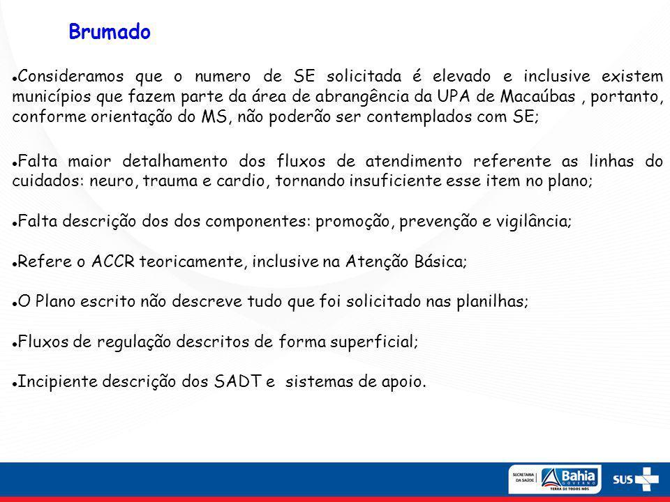 Consideramos que o numero de SE solicitada é elevado e inclusive existem municípios que fazem parte da área de abrangência da UPA de Macaúbas , portanto, conforme orientação do MS, não poderão ser contemplados com SE;