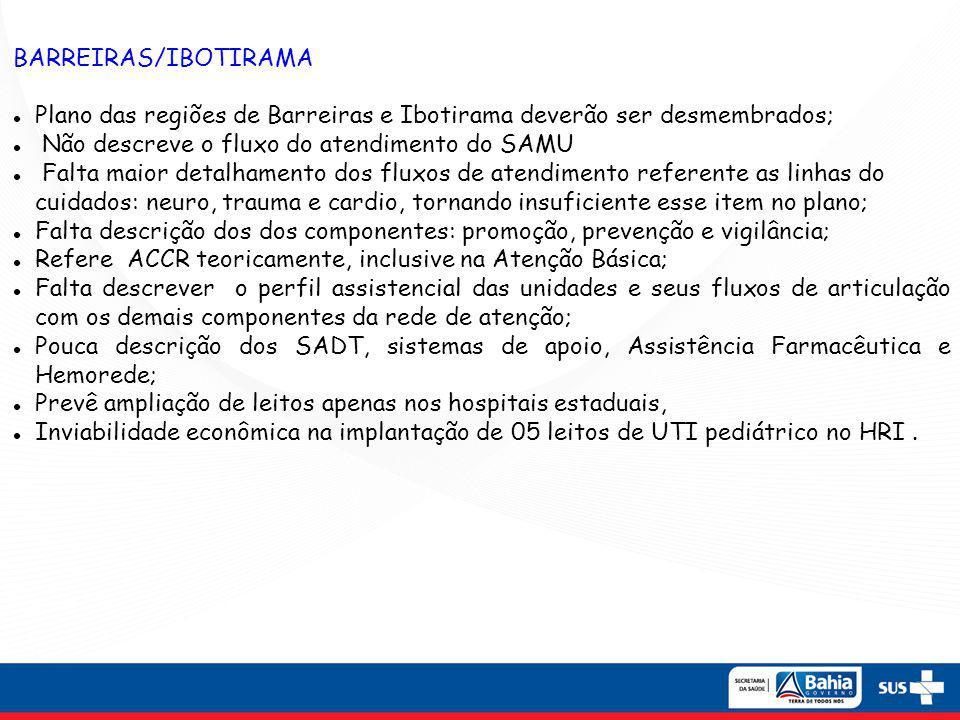 BARREIRAS/IBOTIRAMA Plano das regiões de Barreiras e Ibotirama deverão ser desmembrados; Não descreve o fluxo do atendimento do SAMU.