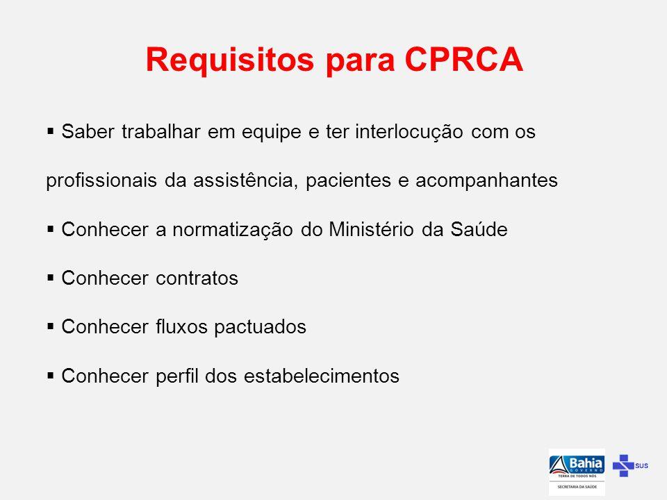 Requisitos para CPRCA Saber trabalhar em equipe e ter interlocução com os profissionais da assistência, pacientes e acompanhantes.