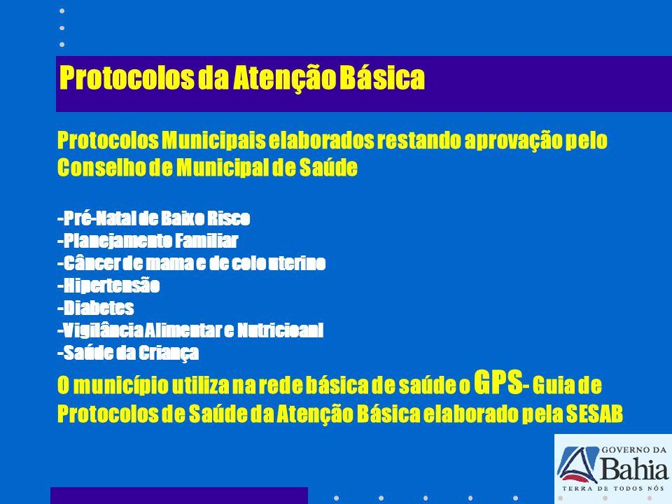 Protocolos da Atenção Básica Protocolos Municipais elaborados restando aprovação pelo Conselho de Municipal de Saúde -Pré-Natal de Baixo Risco -Planejamento Familiar -Câncer de mama e de colo uterino -Hipertensão -Diabetes -Vigilância Alimentar e Nutricioanl -Saúde da Criança O município utiliza na rede básica de saúde o GPS- Guia de Protocolos de Saúde da Atenção Básica elaborado pela SESAB