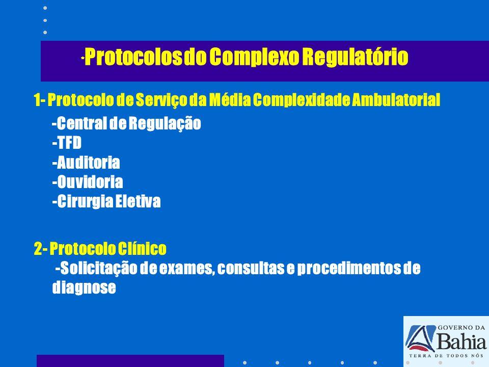 *Protocolos do Complexo Regulatório