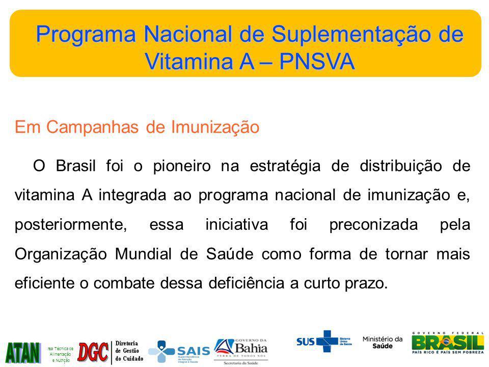 ATAN Programa Nacional de Suplementação de Vitamina A – PNSVA