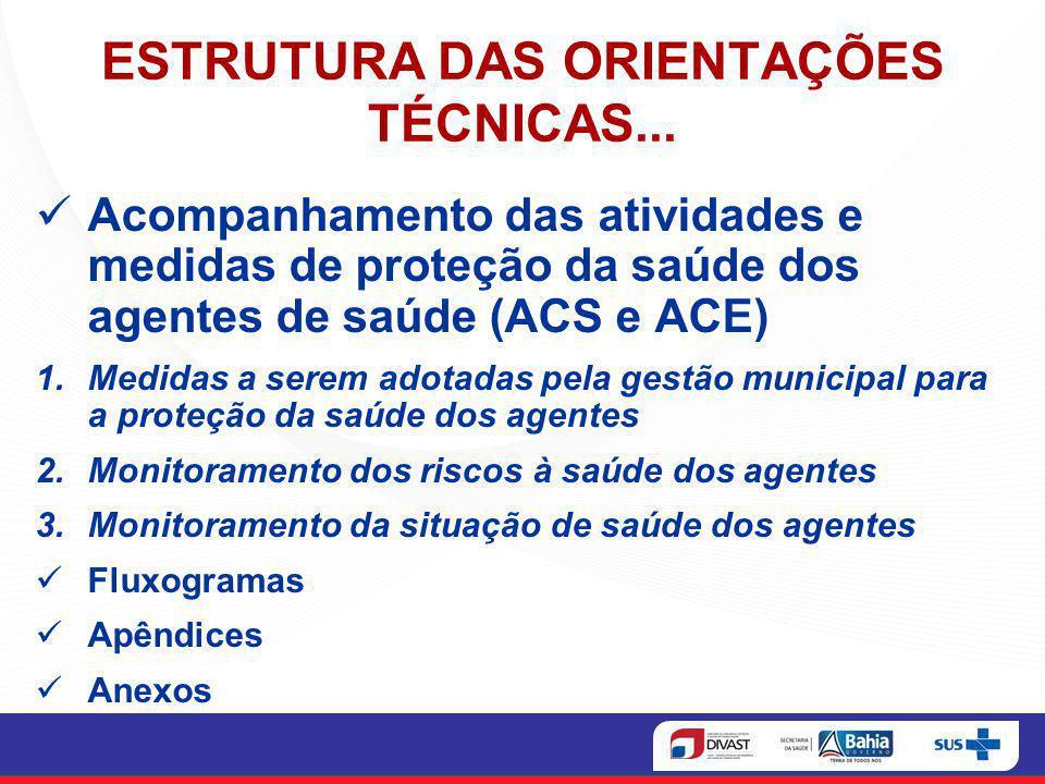 ESTRUTURA DAS ORIENTAÇÕES TÉCNICAS...